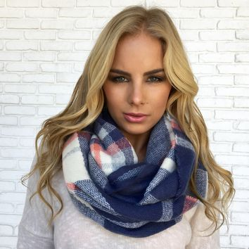 Plaid Infinity Scarf in Blue