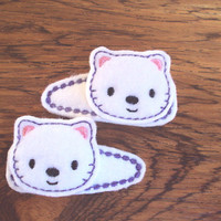 Felt snap clip barrettes of cute little kittens set of 2