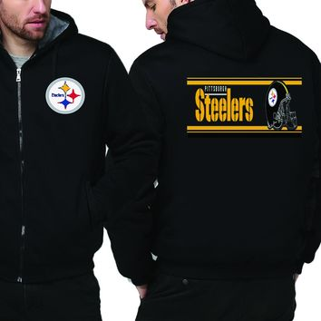 Pittsburgh Steelers Jacket| Fleece Thicken Full Zip Hooded Jacket (4 Colors)