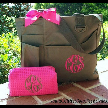 Gift Set of 2 - Monogrammed Super Feature Tote and Small Size Cosmetic Bag - Personalized Waffle Weave bridesmaids teacher mothers day