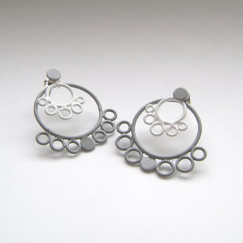 white and grey stacking hoop earrings by StudioMETHODE on Etsy