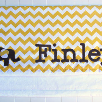 Elephant Baby Blanket, Yellow and Grey Monogrammed Blanket, Chevron Baby Blanket