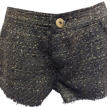 Gold Metallic Tweed Black Shorts w/Front & Back Pockets