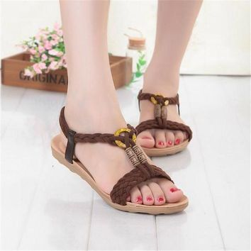 ac VLXC Design Stylish Summer Bohemia Flat Peep Toe Beach Shoes Sandals [9257113292]