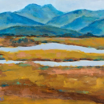 RUSH RANCH, 8 x 12 - Twin Brothers - Slough - Waterway - Original Painting - Cottage - Wall Hanging - Landscape - San Francisco Bay Area