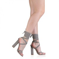 Vera Lace Up Heels in Grey Faux Suede