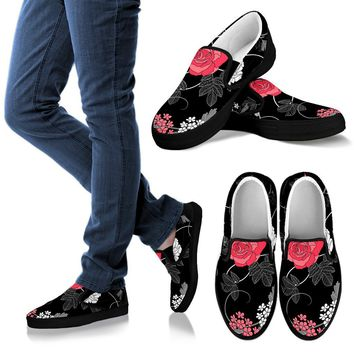 Black Floral Pattern Women's Slip Ons