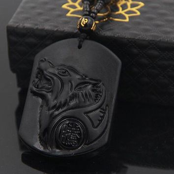 Black Obsidian Wolf Necklace Carving Wolf Head Amulet Pendant With Chain Obsidian Blessing Lucky Pendants Jewelry