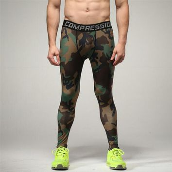 Camouflage Men Compression Tights 2016 New Camo Pants Lycra Skinny Leggings Clothing Pants Fitness  Free shipping