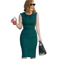 Vfemage Womens Celebrity Elegant Vintage Ruched Pinup Wear To Work Office Business Casual Party Fitted Bodycon Pencil Dress 2095
