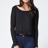LA Hearts Ribbed Peplum Long Sleeve Top at PacSun.com