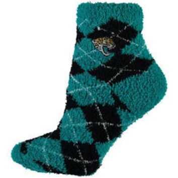 ONETOW NFL Jacksonville Jaguars Black And Teal Argyle Fuzzy Socks