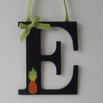 Painted Wood Letter - Pineapple - Initial - Hand Painted Letter - Wall Decor - Door Decoration