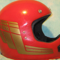 Vintage 1980s GRANT Red and Gold Motocross/Motorcycle Helmet - Size Small/Medium