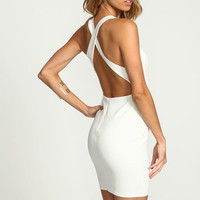 IVORY WRAP BACK PLUNGE BODYCON DRESS