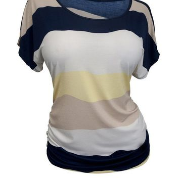 Casual Round Neck Color Block Striped Plus Size T-Shirt