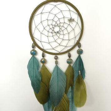 Dream Catcher - Modern - Green and Blue - Ceramic - Dragonfly Dreamcatcher