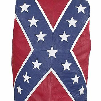 Mens Motorcycle Biker Rebel Confederate Flag Leather Vest Black
