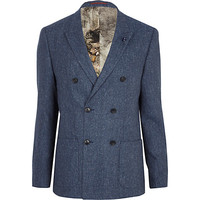River Island MensBlue tweed double breasted blazer