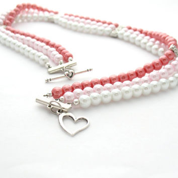 Multi Strand Necklace: Pink, Red, & White Fake Pearl Beaded Choker, Valentines Day