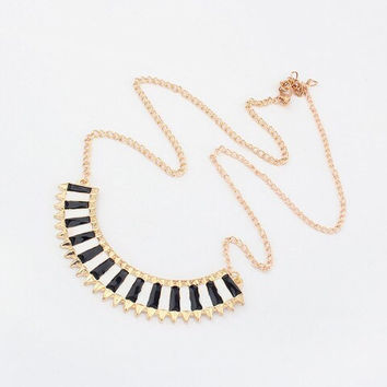 The LC Drop Glaze Semicicle Black & White Striped Statement Necklace