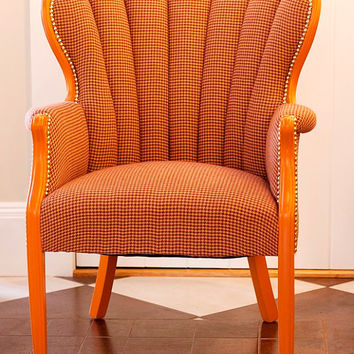 Tufted Scalloped Wingback Chair in Gold, Purple and Orange Houndstooth, Repainted and Custom Upholstered by Nightingale