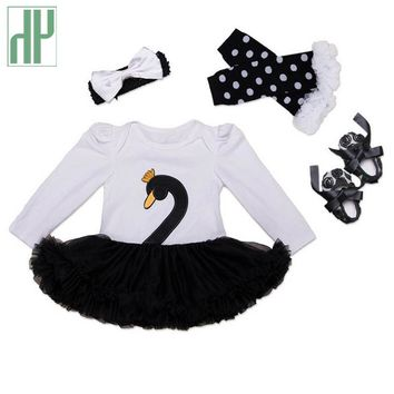 4pcs Baby girl clothes Swan infant clothing Princess Tutu Dress Party baby christmas outfits clothes Birthday Costumes Vestido