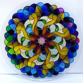 Flower mandala Glass painting Decorative plate Glass art