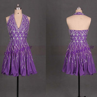 Short purple chiffon prom dresses with rhinestones,2014 sexy v neck gowns for homecoming party,chic women dress in handmade hot.