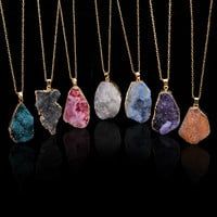 18k Gold Plated Blueredpurple Brazilian Agate Irregular Natural Stone Quartz Crystal Pendant Necklace