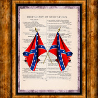 Red & Blue Rebel Flags Art - Vintage Dictionary Page Art Print Upcycled Page Print