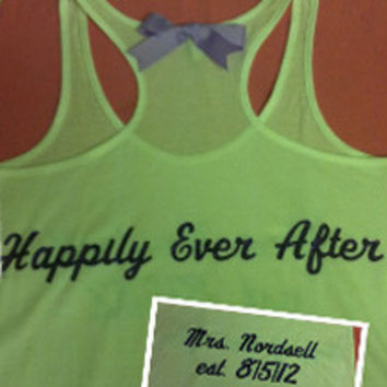 Personalized Happily Ever After Bridal Tank