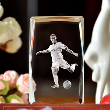 3D Laser Engraved Quartz Crystal Glass Cube Portuguese Cristiano Ronaldo Figurines Crystals miniaturas Football Fans Souvenirs