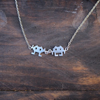dainty space invader alien necklace - silver