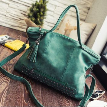 Green Tassel Punk Large Leather Shoulder Rivets Handbag Messenger Motorcycle Bag Crossbody
