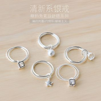 real. 925 Sterling Silver 2layers Twisted Polished Circle midi knuckle Ring Ball, Lotus, Star, Cube Size5.6-Size6.75 small J943