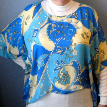 Retro Silk Poncho Top Aqua Black Blue Tan Like Pucci 1970s Psychadelic Fashion Topper
