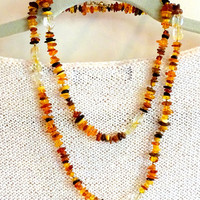 Long Amber necklace with Citrine gemstone accents, Sunshine necklace, amber, citrine, Gemni, Aries, Libra,Leo