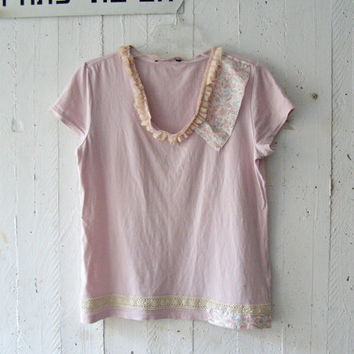Shabby Pink Ruffle Tshirt, Upcycled Cotton Spring Summer Women Top Size M, Romantic Eco Patchwork Lace Clothes, Altered Basic Tee Shirt