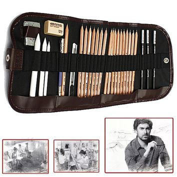 18pcs/set Sketch Tool kit Pencils Charcoal Extender Paper Pen Cutter Eraser Drawing Set (Color: Black)