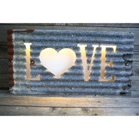 FITZ Fabrications LED Illuminating Sign - Gray/Rust - Love with Heart