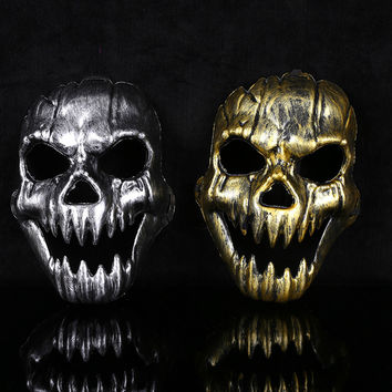 Skull Mask Caretas Halloween Retro Imitation Metal Terror Party Supplies Airsoft Masks Jagged Antivirus CS Skull Mask HG0168
