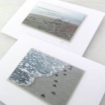 Beach scene cards with footprints in New Zealand x 2