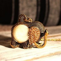 Lovely Atmosphere Rhinestone Elephant Necklace  from http://www.looback.com/