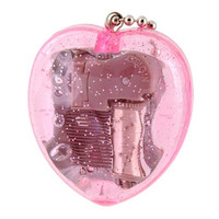 Acrylic Wind Up Heart Shaped Music Box Keychain (Pink)