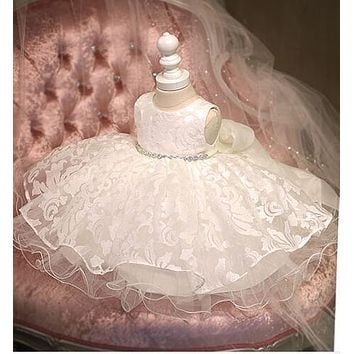 Sweet Diamond Baby Girl 1 Year Birthday Dress Flower Girl Dress White Tutu Party Pageant Dress for Girls Prom Wedding Dresses