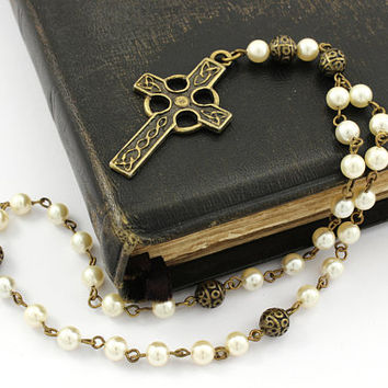 Anglican Prayer Beads -with Celtic Cross, Pearl Rosary, Anglican Rosary in Antique Bronze, Celtic Rosary, Handcrafted Prayer Beads, Unisex