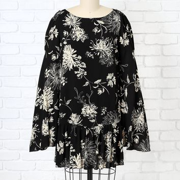 Black Floral Bell Sleeve Dress