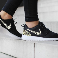 Nike Roshe Run One Black with Custom Black White Floral Print