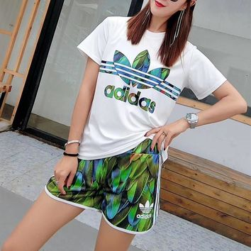 """Adidas"" Women Casual Fashion Letter Logo Feather Print Short Sleeve Shorts Set Two-Piece Sportswear"
